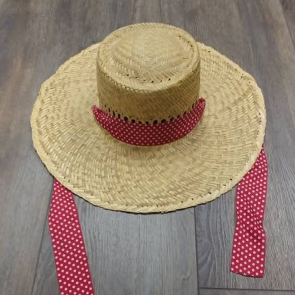 1870ca515 Vintage Straw Hat with Red Ribbon
